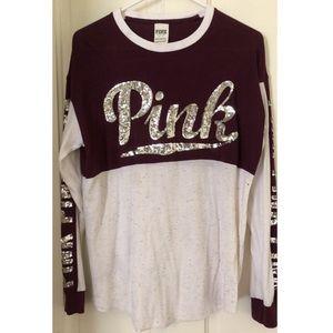 PINK Victoria's Secret Tops - Pink long sleeve Maroon shirt